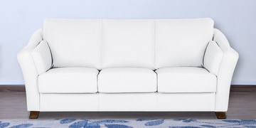 Three Seater Sofa In White Leatherette