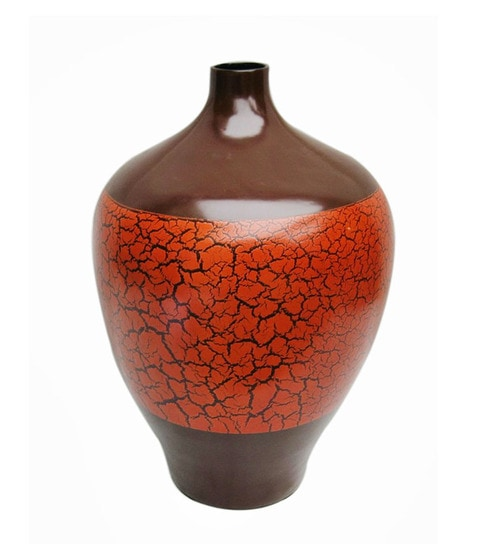 The Art Treasure Vietnam Range Tall Brown With Red Bamboo Lacquer