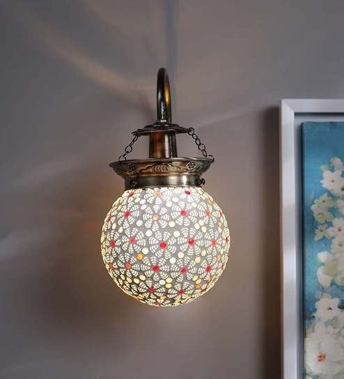 Multicolour Gl Wall Light By The Brighter Side Online Downward Lights Lamps Lighting Pepperfry Product