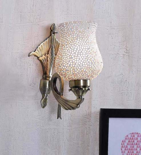 White Gl Wall Light By The Brighter Side Online Upward Lights Lamps Lighting Pepperfry Product