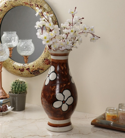 Buy Cream Ceramic Exclusive Flower Vase By The Decor Mart Online