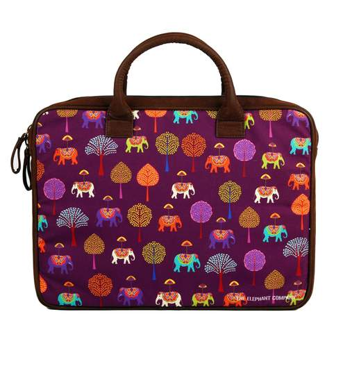 d710e27812a4 The Elephant Company Elephants Carnival Suede & Poly Canvas Plum Laptop Bag