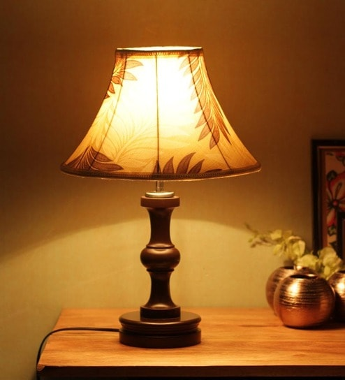 Lovely Buy Beige Brown Poly Cotton Table Lamp By The Light House Online   Colonial  Table Lamps   Table Lamps   Lamps U0026 Lighting   Pepperfry Product