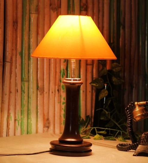 Buy The Light House Yellow Shade Wooden Table Lamp Online Classic