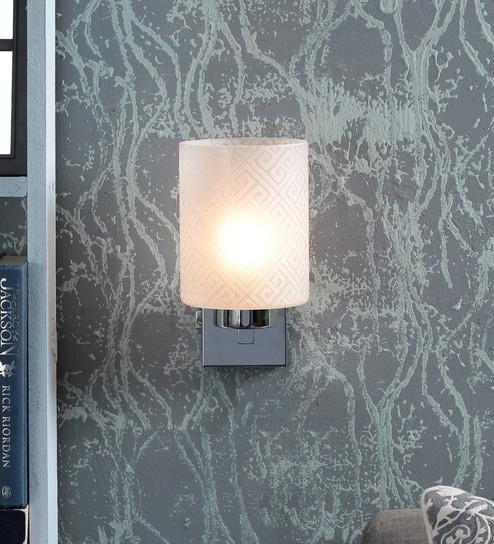 Kapoor E Illuminations White Metal & Glass Wall Light