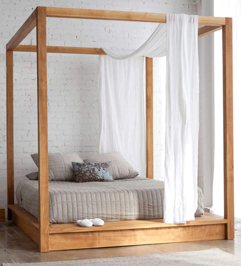 buy majestic canopy king size poster bed in natural finish by asian arts online poster beds. Black Bedroom Furniture Sets. Home Design Ideas