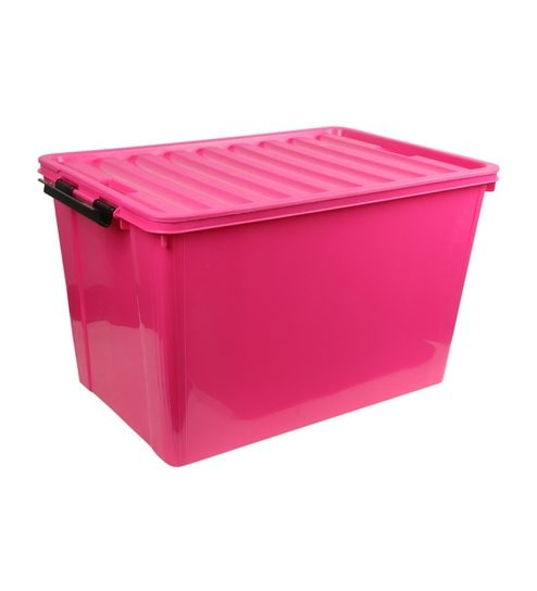 buy the quirk box multipurpose plastic pink 60 l storage box with lid online multi purpose. Black Bedroom Furniture Sets. Home Design Ideas