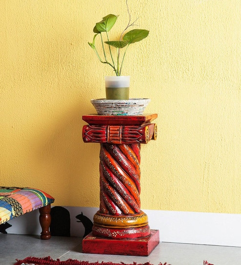 Buy Multicolour Mango Wood Vase Stand By The Shopy Online Vases