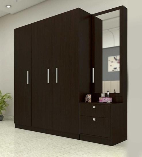 Buy Three Door Wardrobe With Dresser In Country Oak Dark