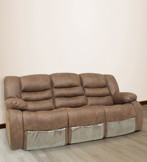 Buy Three Seater Sofa With 2 Manual Recliners With Collapsible Tray
