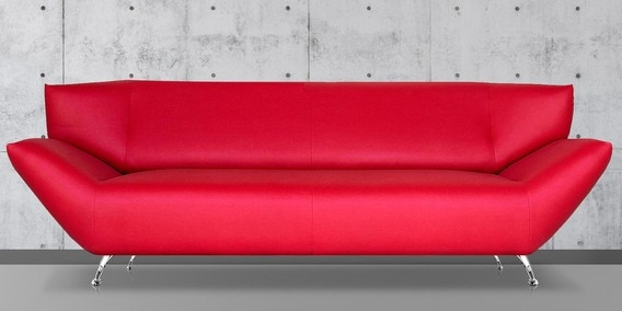Three Seater Designer Sofa In Red Colour By Furncoms