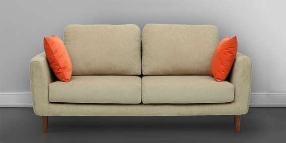 Panache Three Seater Sofa With Cushions In Beige Colour By Vittoria