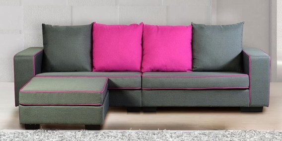 Buy Three Seater Sofa with Pouffe in Grey & Magenta Colour by DHEP ...