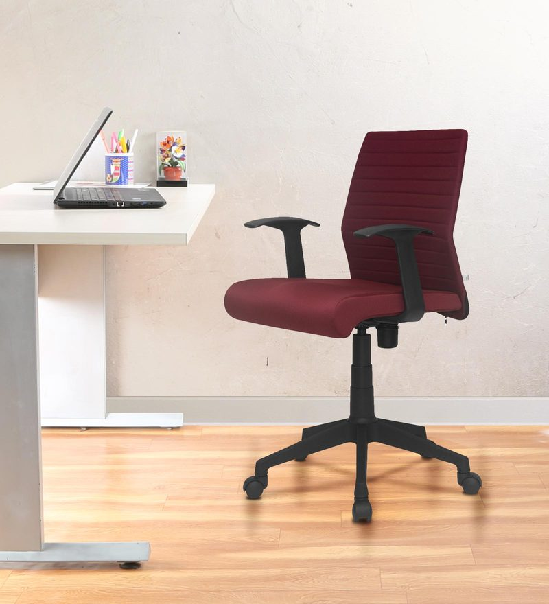 Thames Low Back Ergonomic Chair In Maroon Colour By Nilkamal