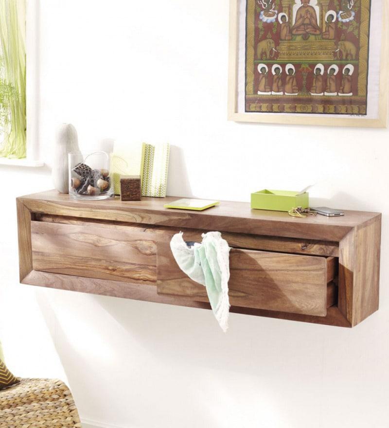 Buy The Attic Millville Brown Sheesham Wood Wall Shelf