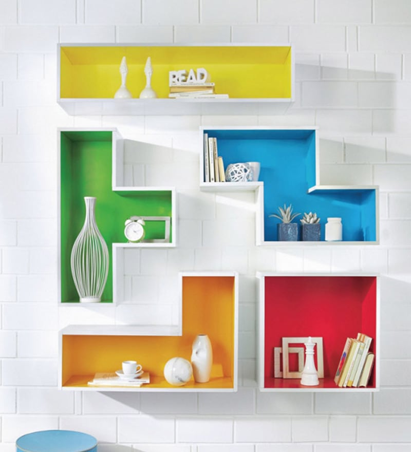 Buy The Attic Multicolour Tetris Mango Wood Wall Shelf Online
