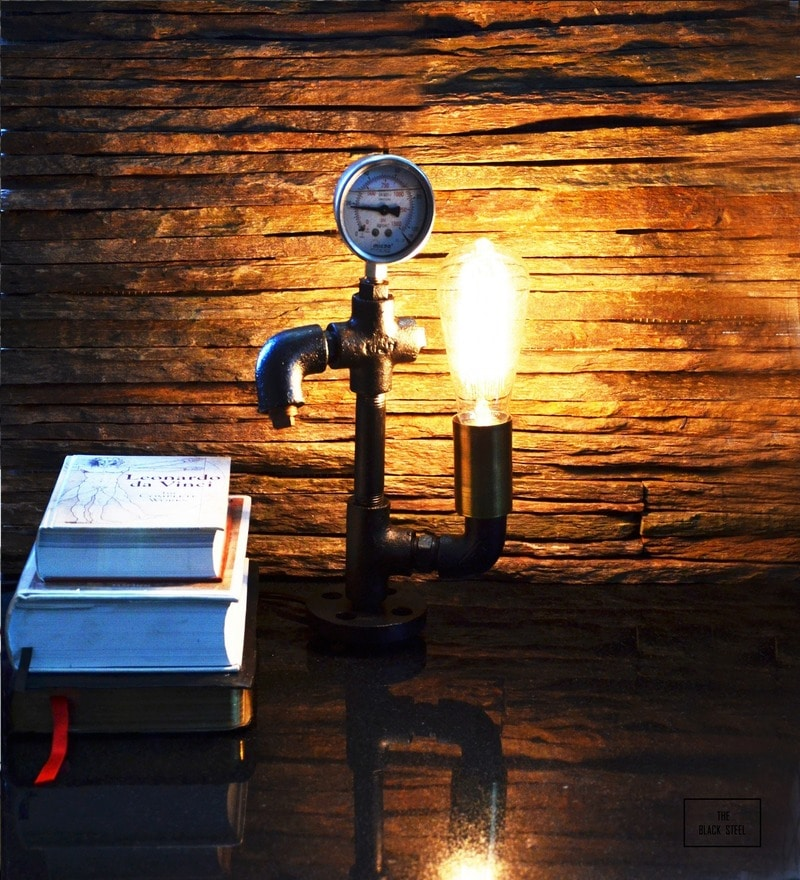 The Black Steel Black Iron Warehouse Pressure Gauge Twisted Table Lamp
