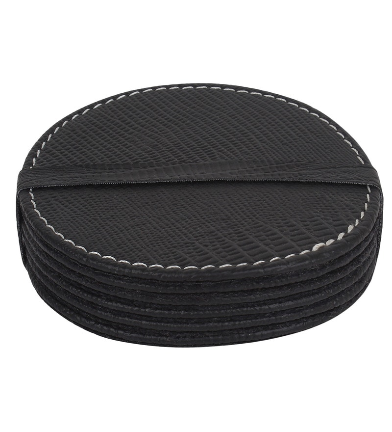The Decor Mart Black Faux Leather Coasters - Set of 6