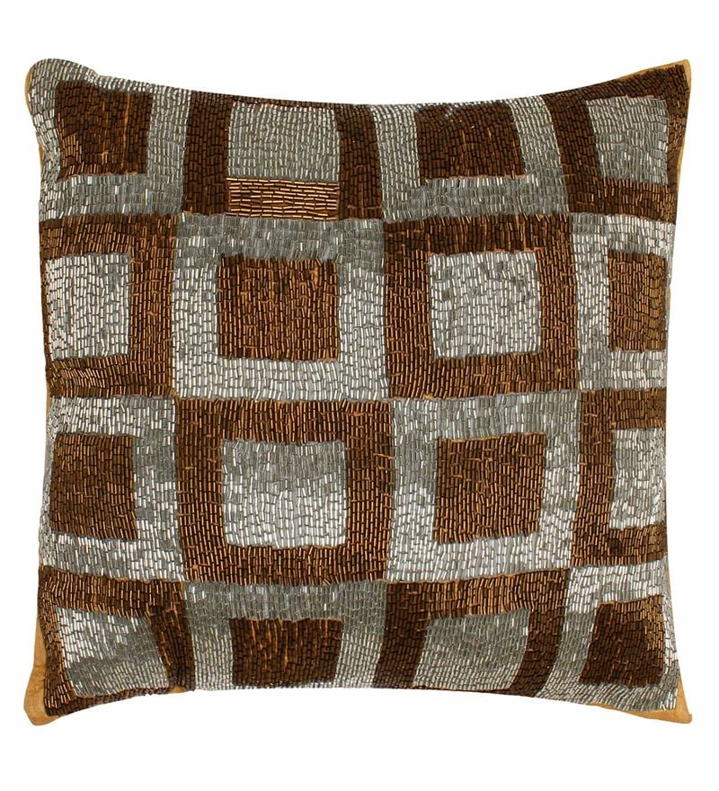 Brown Polyester 15.8 x 15.8 Inch Geometric Cushion Cover by The Decor Mart