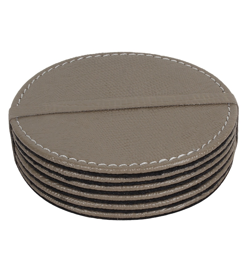 The Decor Mart Champagne Faux Leather Coasters - Set of 6