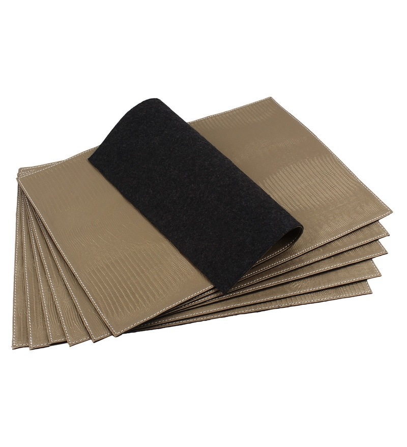 The Decor Mart Taupe Faux Leather Placemats - Set of 2