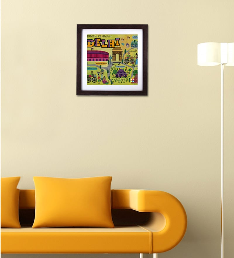 Buy The Elephant Company Green Wood Acrylic Delhi Maps Framed