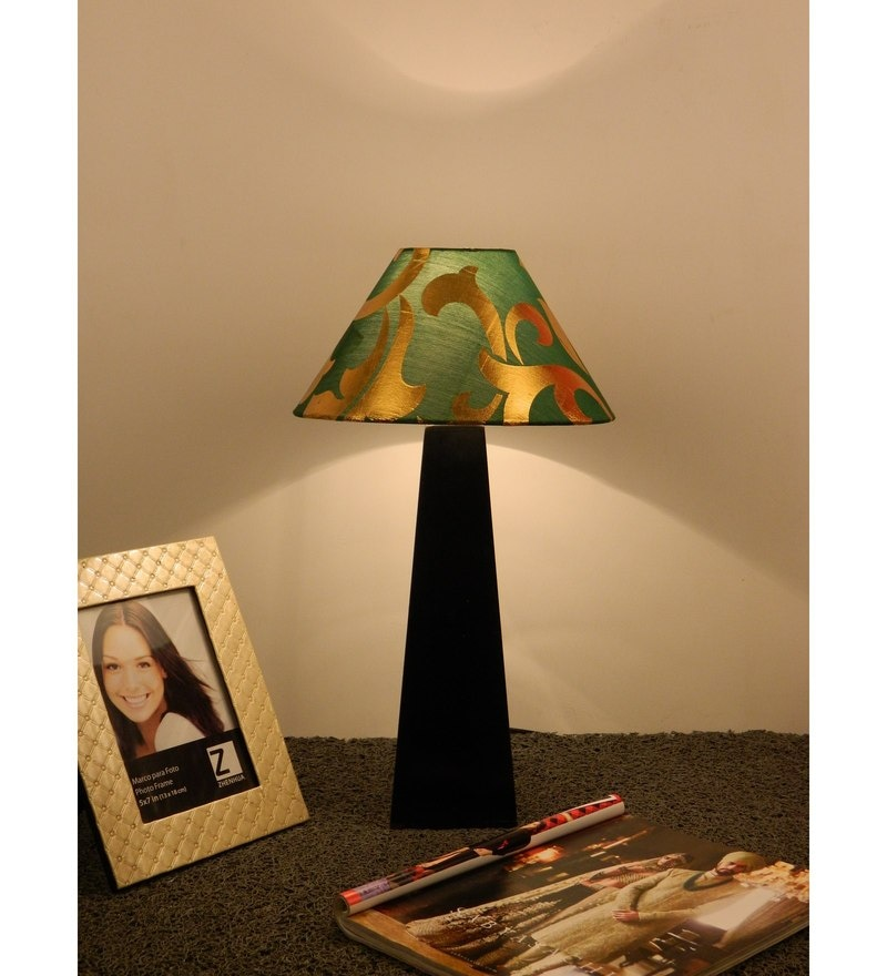 Green & Gold Poly Cotton Lamp Shade by The Lamp Store