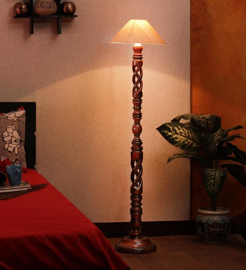 Buy khadi shade twisted wood floor lamp by the light house online click to zoom inout aloadofball Choice Image