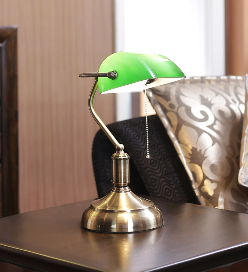 Green Glass Study Lamp by Kapoor E Illuminations