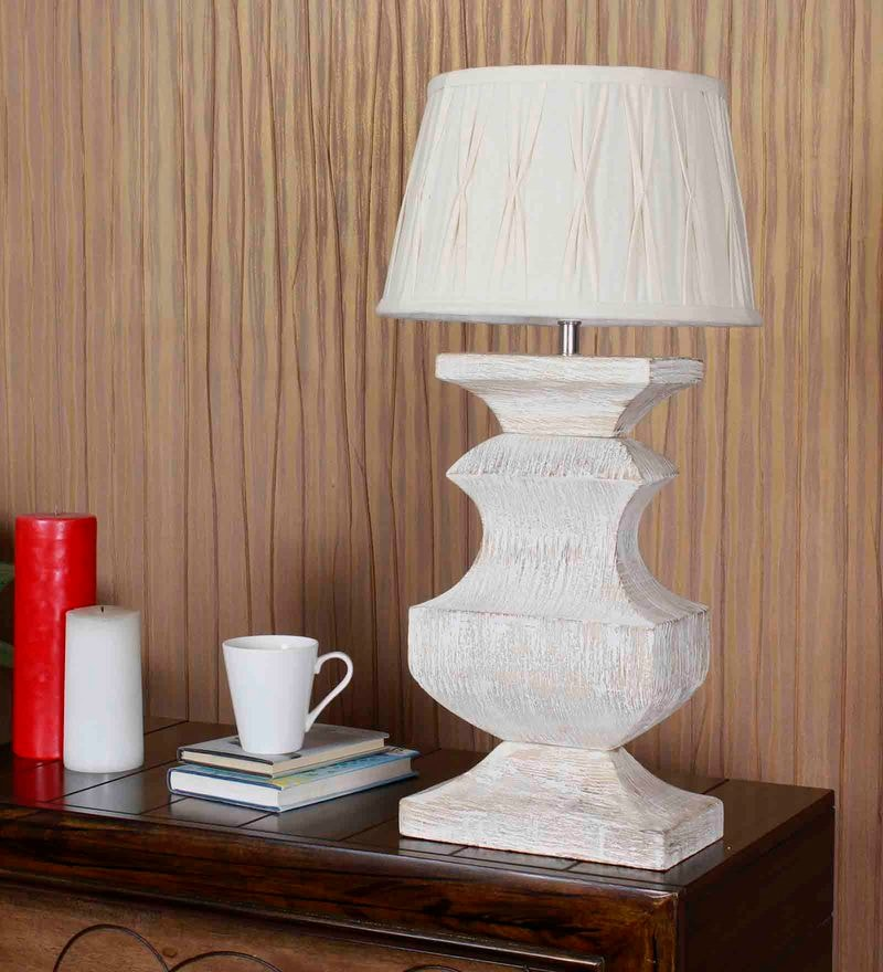 Off White Cotton Table Lamp by Kapoor E Illuminations