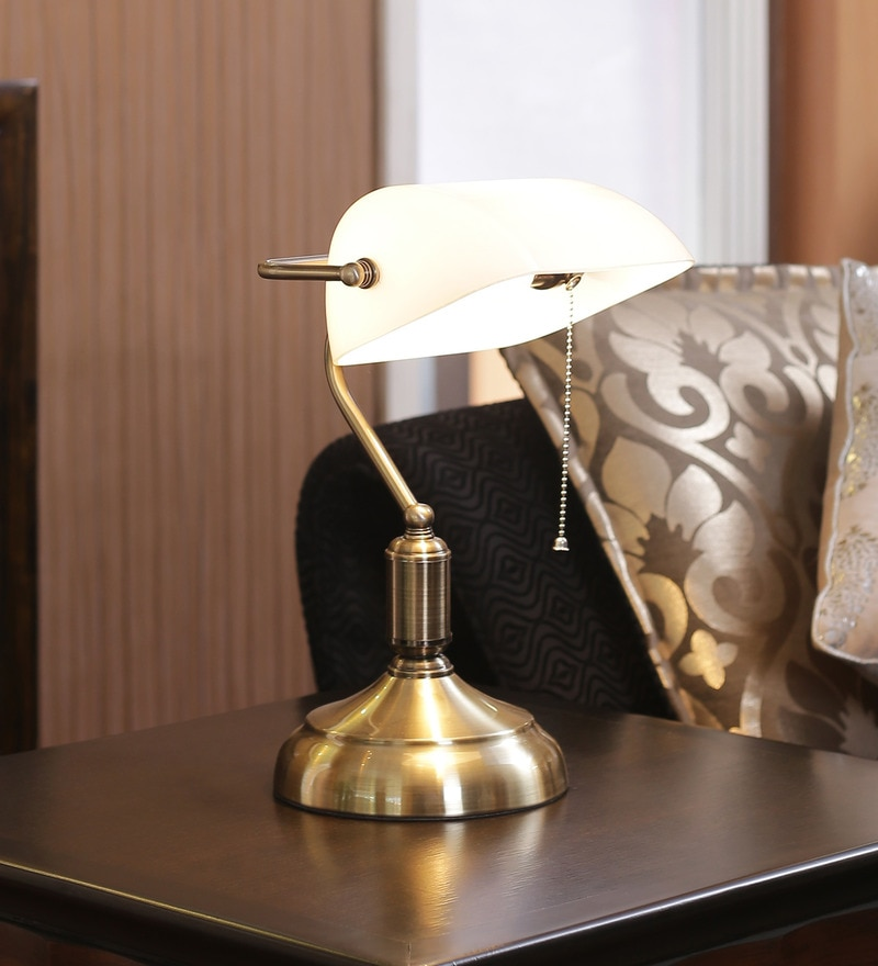 White Glass Study Lamp by Kapoor E Illuminations
