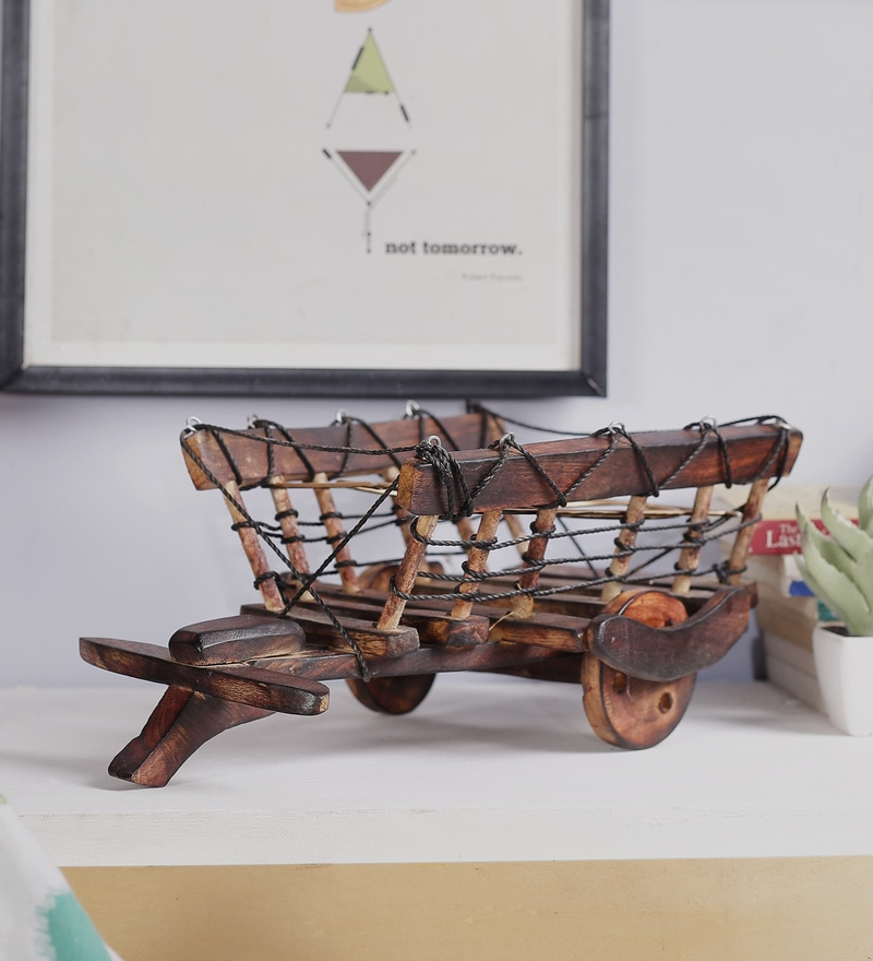 Brown Mango Wood & MDF Jodhpuri Antique Glass Bullock Cart by The Mikky Shoppe Station