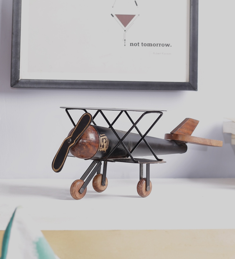 Brown Mango Wood & MDF Jodhpuri Antique Helicopter by The Mikky Shoppe Station
