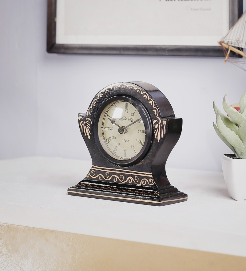 Black Mango Wood & MDF Table Clock by The Mikky Shoppe Station