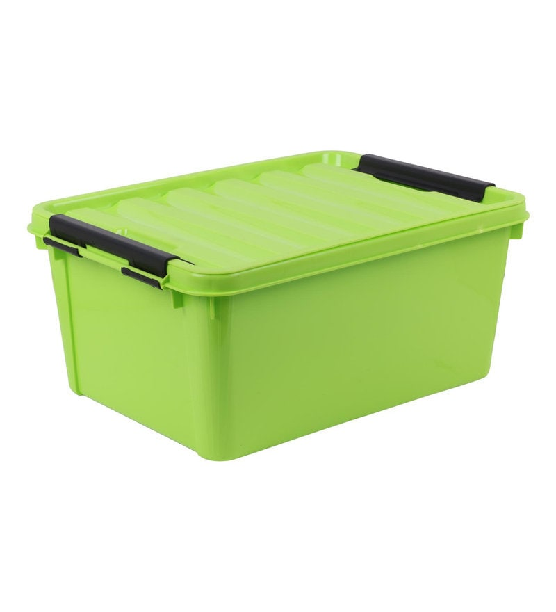 The Quirk Box Multipurpose Plastic Green 20 L Storage Box with Lid