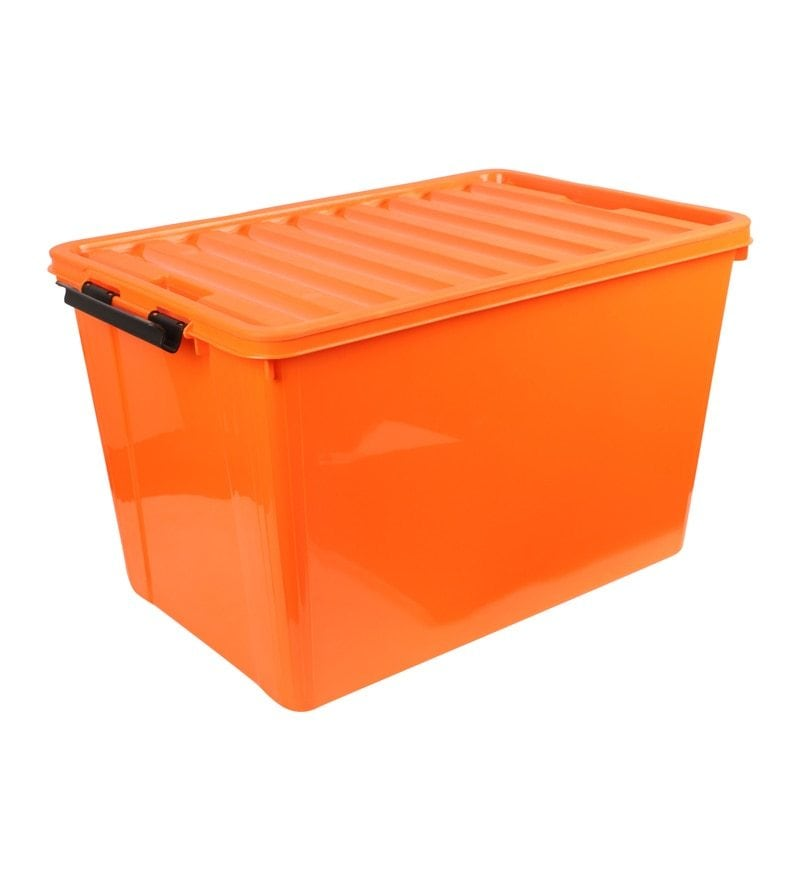 The Quirk Box Multipurpose Plastic Orange 60 L Storage Box with Lid