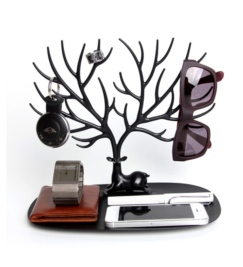 Plastic Black Antler Jewellery Stand by The Quirk Box