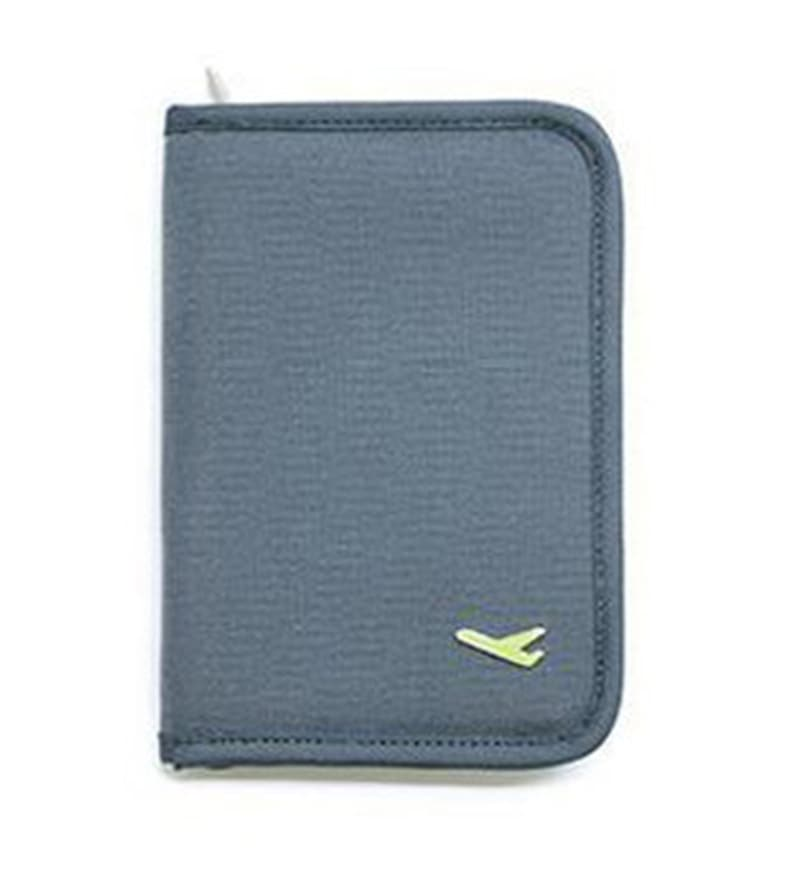 The Quirk Box Synthetic Grey Travel Passport & Currency Holder Organizer