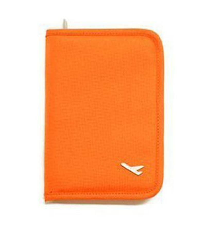 The Quirk Box Synthetic Orange Travel Passport & Currency Holder Organizer