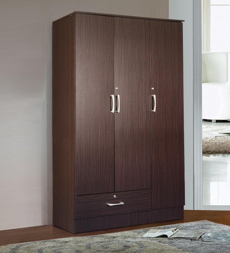 Yukio Three Door Wardrobe in Walnut Finish by Mintwud