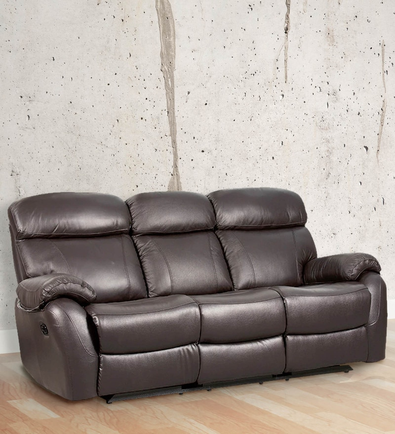 Buy Three Seater Half Leather Sofa With 2 Manual Recliners