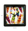 Multicolour Glass & Plastic 5.6 x 2 x 5.6 Inch Tropical Feathers Alarm Clock by The Elephant Company
