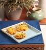 The Himalayan Goods Company Marin and Tan Stoneware 6 x 6 Inch Serving Tray