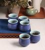The Himalayan Goods Company Aqua and Turquoise Ceramic 160 ML Tea Tumbler - Set of 6