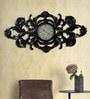 Black Mango Wood & MDF 60 x 1.3 x 30 Inch Carving Design Wall Clock by Nandani Wood