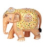 The Nodding Head Brown Wooden 3.2 x 7.4 x 6.3 Inch Glittering Elephant Showpiece