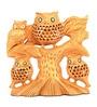 The Nodding Head Brown Wooden Owl Family on Tree Figurine Showpiece