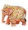 The Nodding Head Brown Wooden Shimmering Elephant Showpiece