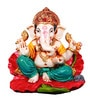 The Nodding Head Multicolor Polyresin Ganesha Sitting on Flower in Green Dhoti