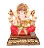 The Nodding Head Multicolor Polyresin Crown Ganesha Sitting on Golden Base